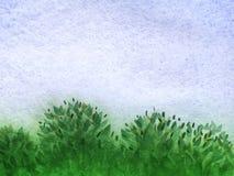 Fondo astratto dell'acquerello di estate con cielo blu pulito luminoso royalty illustrazione gratis
