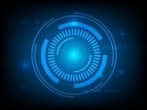 Fondo astratto dell'innovazione di tecnologia di Blue Circle, fondo globale di concetto del cerchio futuristico Fotografie Stock Libere da Diritti