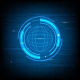 Fondo astratto dell'innovazione di tecnologia di Blue Circle, vettore globale del modello del fondo di concetto del cerchio futur Fotografie Stock Libere da Diritti