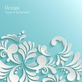 Fondo astratto dell'oceano con il modello floreale 3d Fotografia Stock
