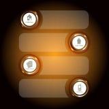 Fondo astratto dell'oro con i simboli corporativi del contatto Fotografie Stock