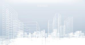 Fondo astratto della città del wireframe La prospettiva 3d rende royalty illustrazione gratis