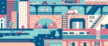 Fondo astratto della città piano illustrazione vettoriale