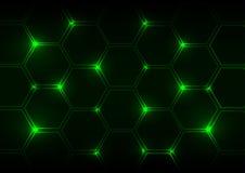 Fondo astratto della luce verde con gli esagoni Fotografia Stock