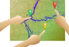Fondo astratto della mappa con le mani e le direzioni Fotografie Stock