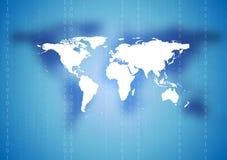Fondo astratto della mappa di mondo di tecnologia Fotografie Stock Libere da Diritti