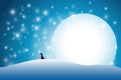 Fondo astratto della neve con la luna piena Immagini Stock Libere da Diritti