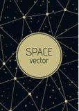 Fondo astratto dello spazio del poligono di vettore con l'illustrazione delle stelle Fotografia Stock Libera da Diritti