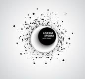 Fondo astratto di affari con il cerchio di semitono circolare di progettazione 3D dei punti neri su un cerchio con un grande giro immagine stock