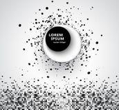 Fondo astratto di affari con il cerchio di semitono circolare di progettazione 3D dei punti neri su un cerchio con un grande giro immagini stock libere da diritti