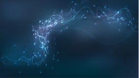 Fondo astratto di biotecnologia Illustrazione futuristica di tecnologia della medicina Collegamento di rete illustrazione vettoriale