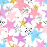 Fondo astratto di celebrazione con le stelle dell'acquerello royalty illustrazione gratis