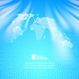 Fondo astratto di codice binario con la mappa di mondo Fotografie Stock
