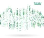 Fondo astratto di flusso di dati con il codice binario Concetto dinamico di tecnologia delle onde illustrazione di stock