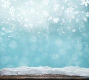 Fondo astratto di inverno con le plance di legno Immagine Stock