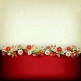 Fondo astratto di lerciume con l'ornamento floreale Fotografia Stock Libera da Diritti