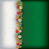 Fondo astratto di lerciume con l'ornamento floreale Fotografia Stock