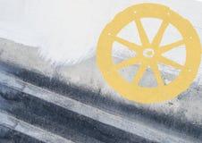 Fondo astratto di lerciume con la ruota del carretto Immagine Stock