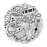 Fondo astratto di musica, collage con gli strumenti musicali Immagine Stock