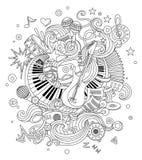 Fondo astratto di musica, collage con gli strumenti musicali Scarabocchio del disegno della mano, illustrazione di vettore Fotografie Stock Libere da Diritti