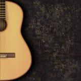 Fondo astratto di musica di lerciume con la chitarra sul nero Fotografie Stock Libere da Diritti