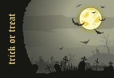 Fondo astratto di notte di Halloween con il cimitero Fotografia Stock