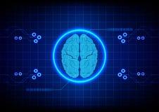 Fondo astratto di progettazione di massima di tecnologia del cervello Illustratio Immagini Stock