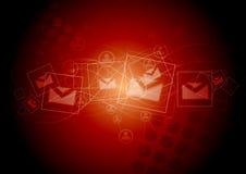 Fondo astratto di rosso di tecnologia Fotografie Stock Libere da Diritti