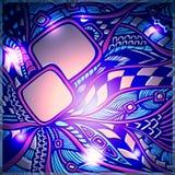 Fondo astratto di scarabocchio con luce nei colori rosa blu Fotografia Stock