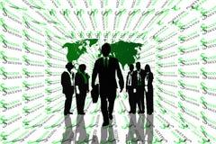 Fondo astratto di successo con la mappa di mondo e lavoro di squadra sulle siluette. Immagini Stock Libere da Diritti