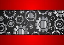 Fondo astratto di tecnologia con gli ingranaggi metallici royalty illustrazione gratis