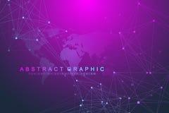 Fondo astratto di tecnologia con la linea ed i punti collegati Grande visualizzazione di dati Visualizzazione del contesto di pro royalty illustrazione gratis