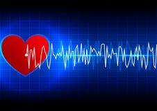 Fondo astratto di tecnologia del ekg di ritmo cardiaco Immagini Stock