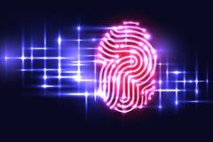 Fondo astratto di tecnologia dell'impronta digitale Segni P con lettere illustrazione vettoriale