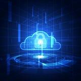 Fondo astratto di tecnologia della nuvola di sicurezza vettore dell'illustrazione Fotografia Stock