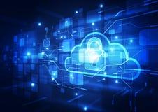 Fondo astratto di tecnologia della nuvola di sicurezza vettore dell'illustrazione Immagini Stock Libere da Diritti