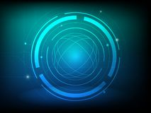 Fondo astratto di tecnologia digitale del cerchio di verde blu, fondo futuristico di concetto degli elementi della struttura royalty illustrazione gratis