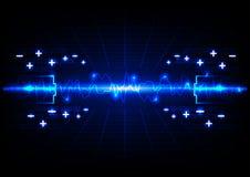 Fondo astratto di tecnologia energetica di illuminazione della batteria Immagini Stock Libere da Diritti