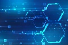 Fondo astratto di tecnologia, fondo futuristico, concetto del Cyberspace illustrazione vettoriale