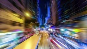 Fondo astratto di traffico di paesaggio urbano con mosso Hon Kong archivi video