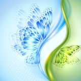 Fondo astratto di verde blu dell'onda con la farfalla Fotografia Stock