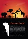 Fondo astratto di vettore con gli animali africani Fotografia Stock