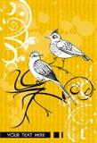 Fondo astratto di vettore con gli uccelli Fotografia Stock Libera da Diritti