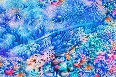 Fondo astratto dipinto fatto a mano creativo blu fantastico fotografia stock libera da diritti
