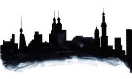 Fondo astratto disegnato a mano dell'acquerello su struttura della carta L'ombra di pendenza dal nero a grigio crea illustrazione vettoriale