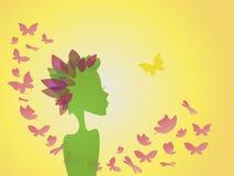 Fondo astratto, donna - fiorisca con le farfalle Immagine Stock