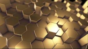 Fondo astratto dorato del modello di tecnologia di esagono, molti esagoni geometrici tecnici puliti come l'onda illustrazione di stock