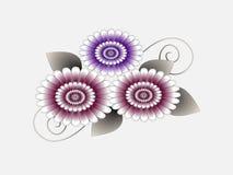 Fondo astratto floreale con i fiori e le foglie Fotografia Stock
