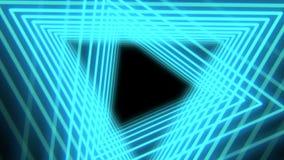 Fondo astratto futuristico con i triangoli leggeri blu al neon, ciclo senza cuciture Forme e linee geometriche al neon 4K illustrazione vettoriale