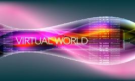Fondo astratto futuristico con il codice binario ed il mondo virtuale dell'iscrizione illustrazione vettoriale